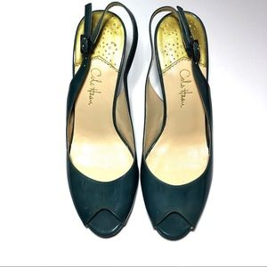 Cole Haan Teal Patent Leather Sling Back Heels